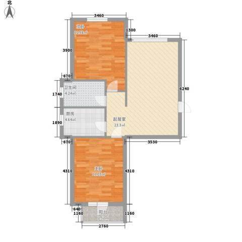 元兴 理想新城2室0厅1卫1厨85.00㎡户型图