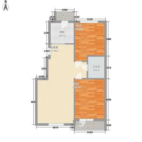 元兴 理想新城2室0厅1卫1厨87.00㎡户型图