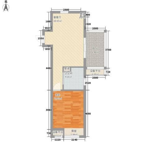 书院1号公寓1室1厅1卫0厨58.00㎡户型图