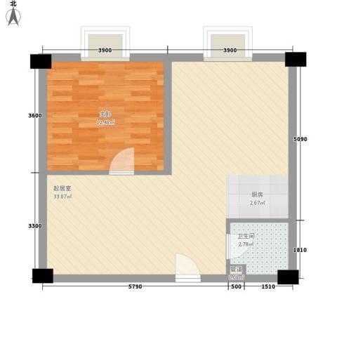 兰亭文苑1室0厅1卫0厨88.00㎡户型图