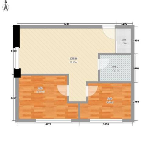 九星国际SOHO领寓2室0厅1卫1厨50.18㎡户型图