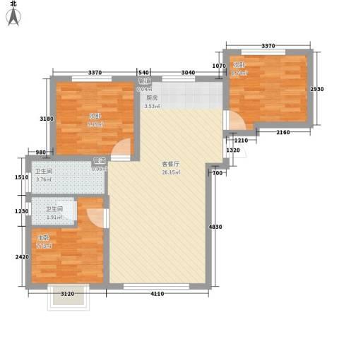 长春明珠3室1厅2卫0厨87.00㎡户型图