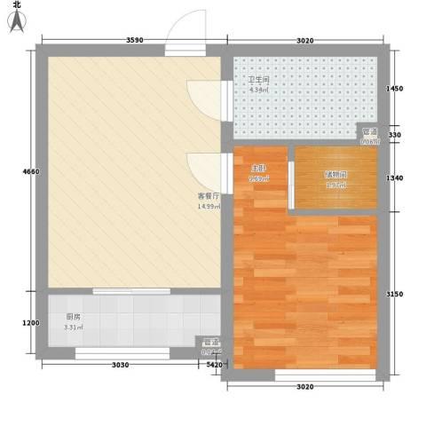 长春明珠1室1厅1卫1厨50.00㎡户型图