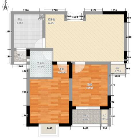 南湖家苑(二期)2室0厅1卫1厨88.00㎡户型图