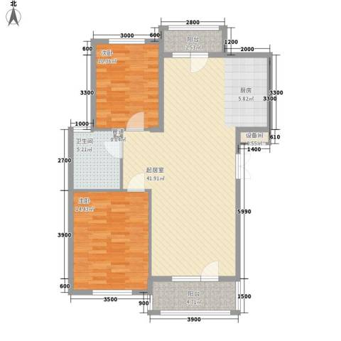 东方优山美地2室0厅1卫0厨98.00㎡户型图