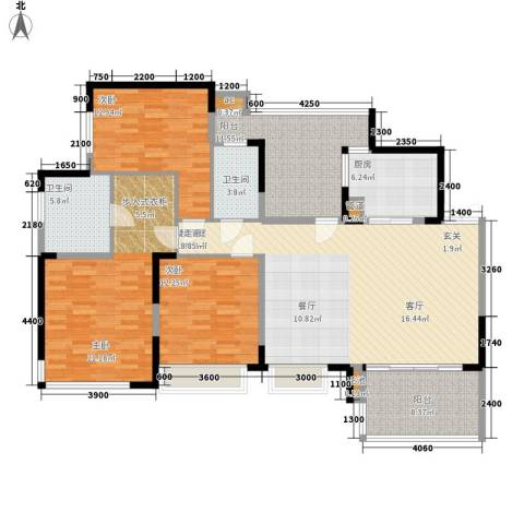 富洲新城3室0厅2卫1厨123.00㎡户型图