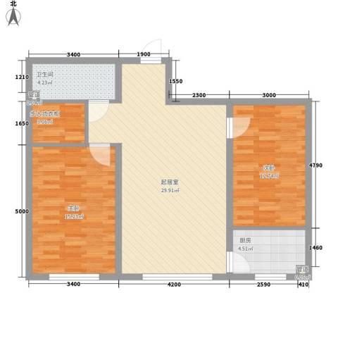 花样年华2室0厅1卫1厨92.00㎡户型图