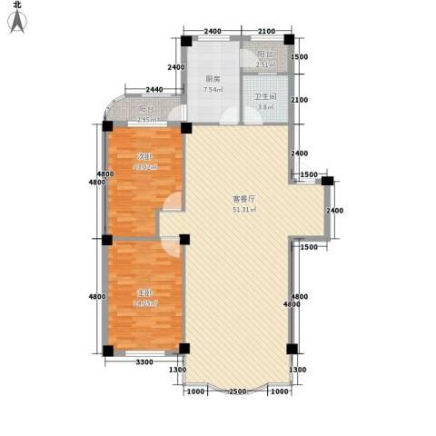 东大智慧鑫园2室1厅1卫1厨124.00㎡户型图