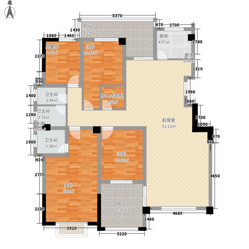 金色半岛193.33㎡A1户型4室3厅2卫1厨