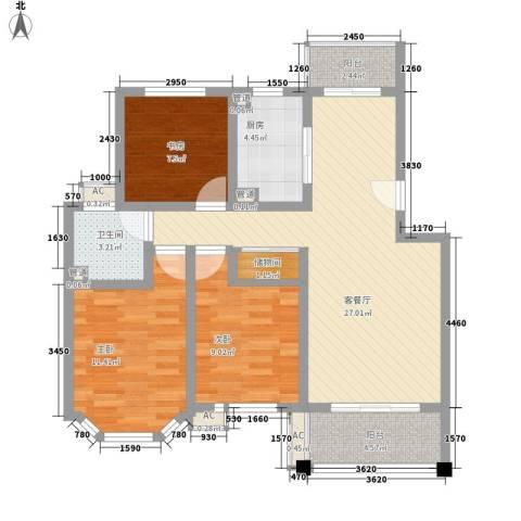 宝地绿洲城南区3室1厅1卫1厨107.00㎡户型图