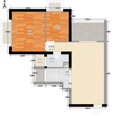 阳光城市家园2室0厅1卫1厨73.00㎡户型图