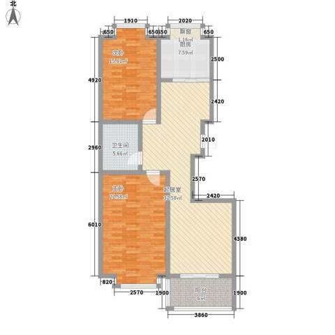 明湖花园2室0厅1卫1厨103.00㎡户型图