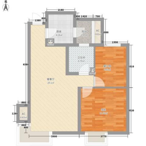 富立・秦皇半岛1室1厅1卫1厨86.00㎡户型图