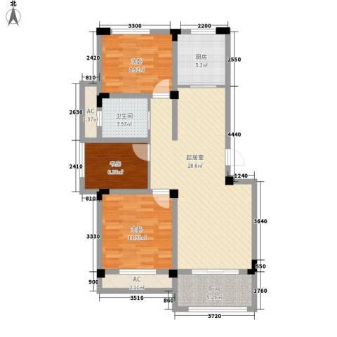 芦墅星苑3室0厅1卫1厨106.00㎡户型图