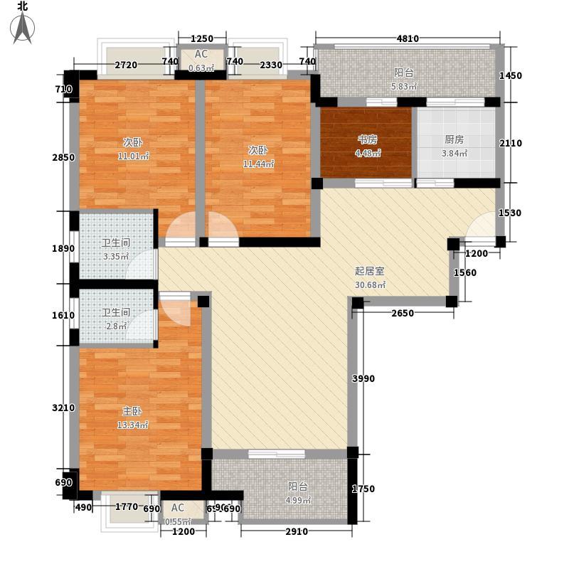 连山鼎府134.61㎡15号楼A户型4室2厅2卫1厨