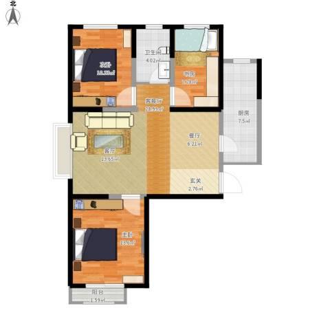 翰林观天下3室1厅1卫1厨103.00㎡户型图