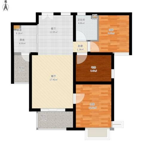 富力十号3室1厅1卫1厨109.00㎡户型图