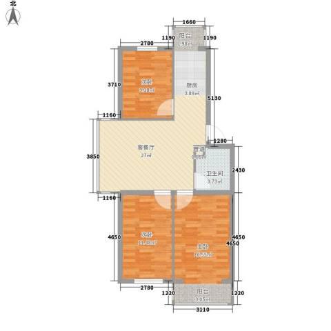 冬奥家园3室1厅1卫0厨76.00㎡户型图