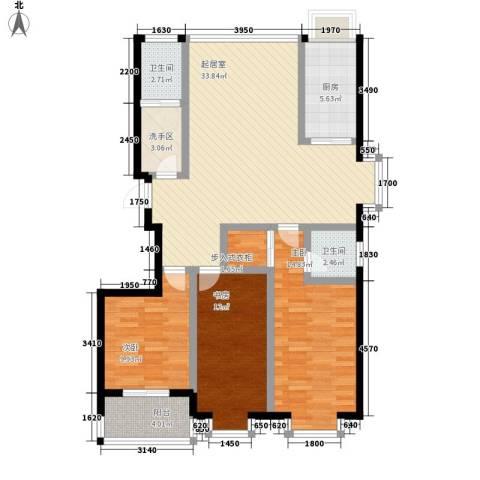 明湖花园3室0厅2卫1厨131.00㎡户型图