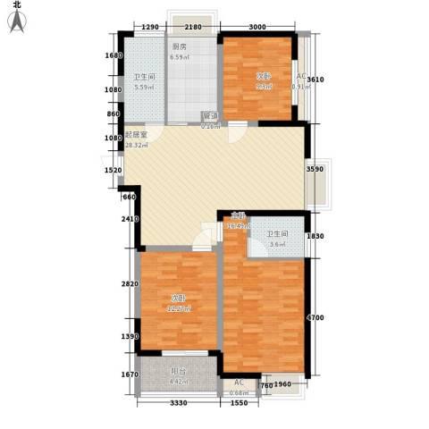 博客山3室0厅2卫1厨123.00㎡户型图