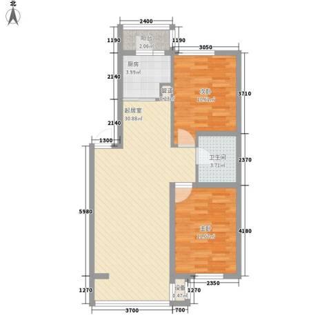 鑫安厚德园2室0厅1卫1厨83.00㎡户型图