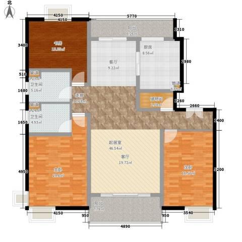 中邦风雅颂3室0厅2卫1厨150.00㎡户型图