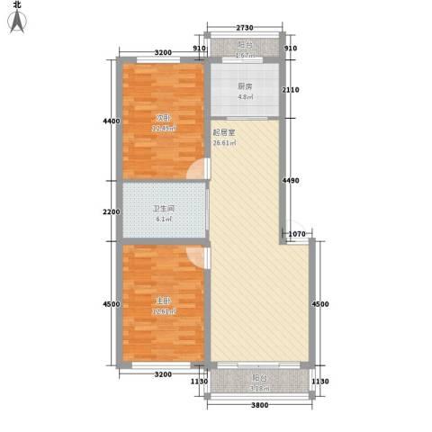 一汽22街区2室0厅1卫1厨80.00㎡户型图