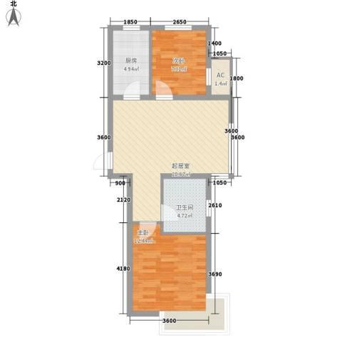 巴黎梦夏2室0厅1卫1厨64.00㎡户型图