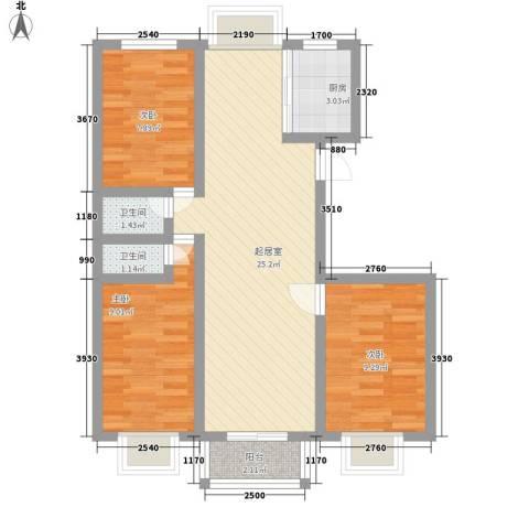 景泉花园3室0厅2卫1厨85.00㎡户型图