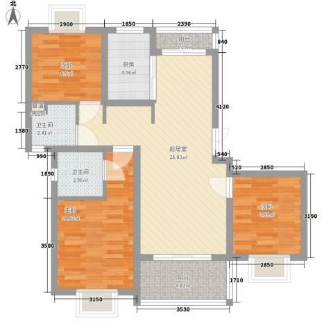 景泉花园3室0厅2卫1厨98.00㎡户型图
