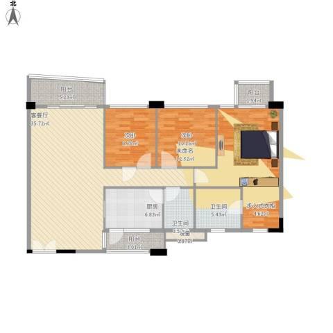 庄士新都二期3室1厅2卫1厨140.00㎡户型图