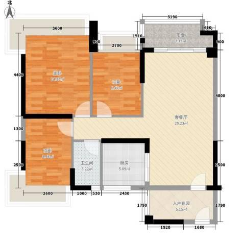 雅居乐・清水湾蔚蓝海岸3室1厅1卫1厨78.12㎡户型图