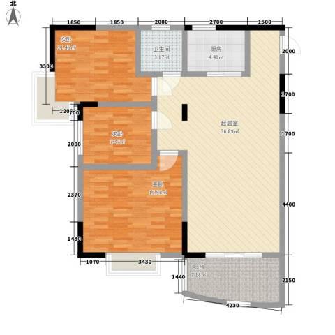 向阳湖社区3室0厅1卫1厨122.00㎡户型图