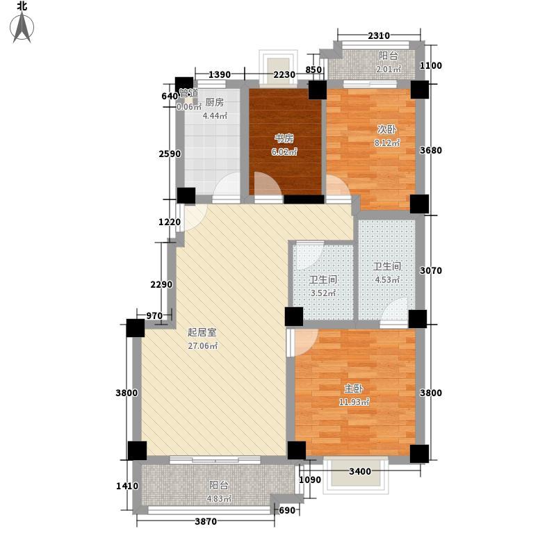 金色丽景107.00㎡金色丽景3室户型3室