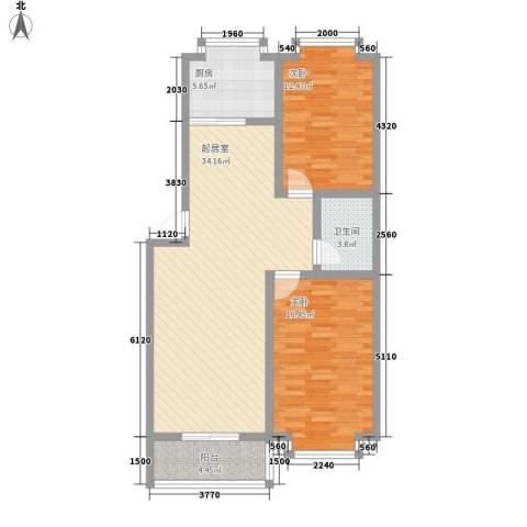 明湖花园2室0厅1卫1厨111.00㎡户型图
