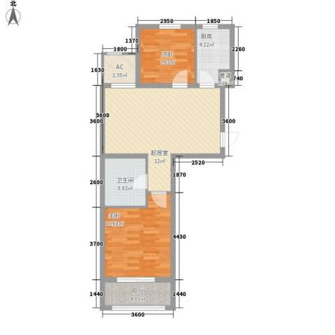 巴黎梦夏2室0厅1卫1厨70.00㎡户型图