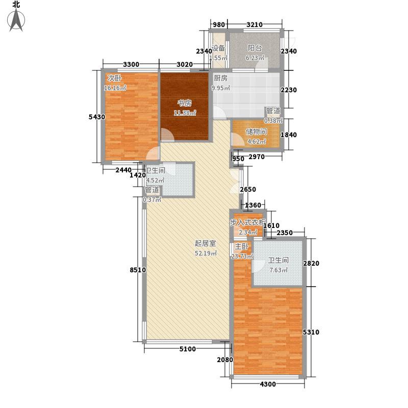 金地国际花园196.96㎡D1A户型3室2厅2卫1厨