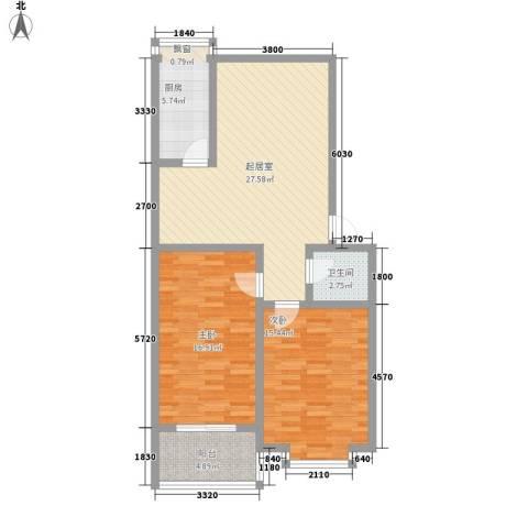 明湖花园2室0厅1卫1厨105.00㎡户型图