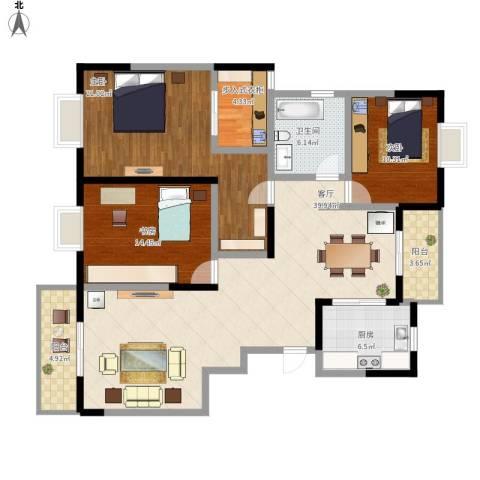 城开半岛花园3室1厅1卫1厨158.00㎡户型图