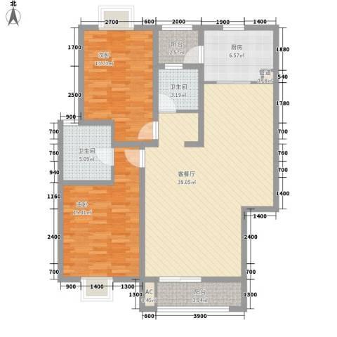 美兰湖颐景园别墅2室1厅2卫1厨108.00㎡户型图