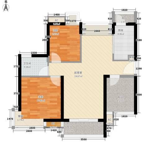 名流印象花园2室0厅1卫1厨85.00㎡户型图