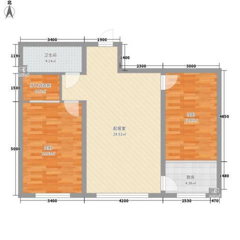 七彩阳光2室0厅1卫1厨97.00㎡户型图