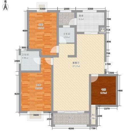 美兰湖颐景园别墅3室1厅2卫1厨116.00㎡户型图