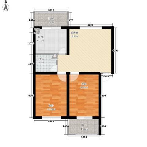 东港新城2室0厅1卫1厨67.57㎡户型图