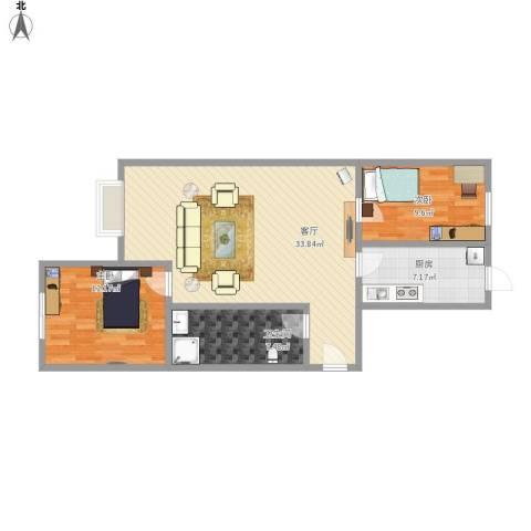 新华联家园2室1厅1卫1厨98.00㎡户型图
