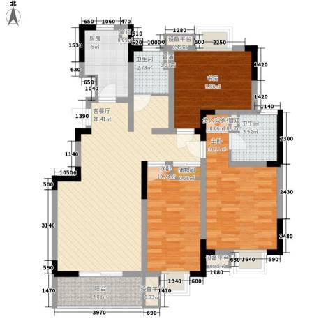 城开半岛花园3室1厅2卫1厨121.00㎡户型图