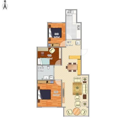 桐城・怡景3室1厅1卫1厨122.00㎡户型图