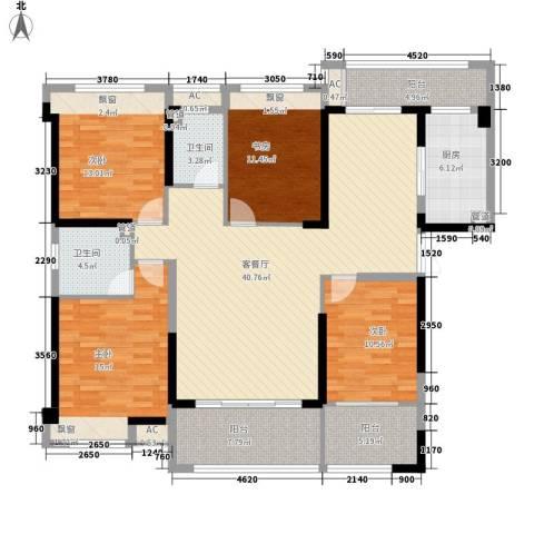 黎郡新宇4室1厅2卫1厨178.00㎡户型图