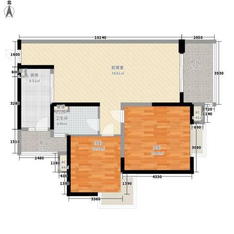 置业大厦2室0厅1卫1厨120.00㎡户型图