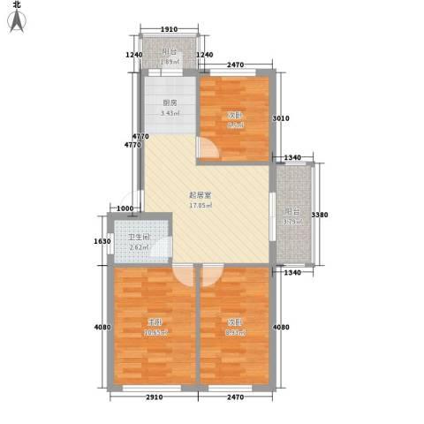 海富山水文园3室0厅1卫0厨73.00㎡户型图